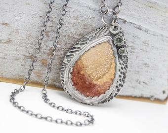 Petrified Palm Wood Fine Silver Necklace