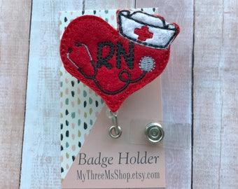 Nurse Badge Reel, Hospital Badge ID Holder, RN Nurse Feltie Retractable Badge Reel Clip, School Nurse gift Id Badge Holder, Stethoscope clip