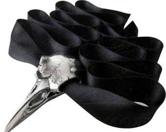 Raven Skull  Choker ~  with black silk ribbon