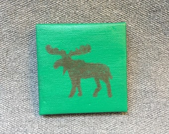 Moose Print on Mini Canvas