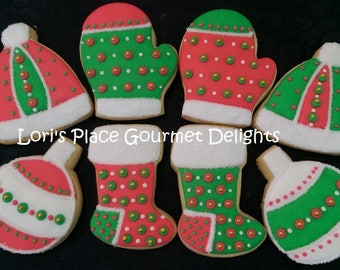 Christmas Decorated Cookies - Stocking Cookies - Mitten Cookies - Hat Cookies - OrnamentCookies - 8 Cookies