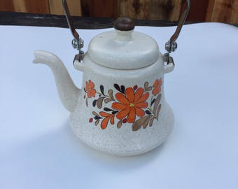 Flower, Floral,  Printed, 1990s, 90s, Teapot, Kettle With Lid, Spout, Tea Wooden Handle,  Vintage,  Retro, Teapot
