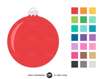 50% OFF SALE! Christmas Ornament Clip Art, Christmas Bauble Clipart, Christmas Tree Clip Art - Commercial Use, Instant Download - V4