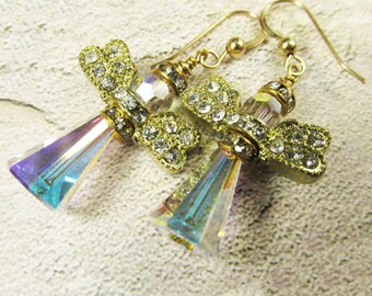 Angel Earrings in Swarovski Crystal AB with Gold Crystal Wings on 14k Gold Fill Wires