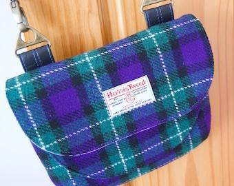 Harris Tweed Crossbody Bag, Adjustable Crossbody Bag, Blue check Harris Tweed, gift for her wife, girlfriend, mother, Scottish tweed