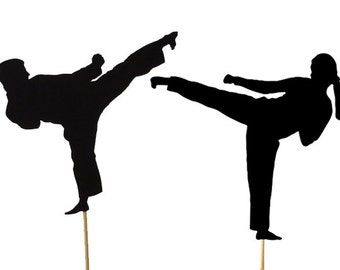 Male or Female Karate Cake Topper, Martial Arts Party Decorations