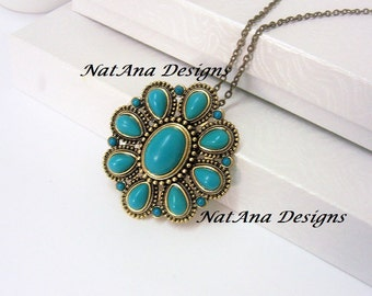 Statement Turquoise Pendant With Chain/Turquoise Pendant Necklace/Statement Turquoise Necklace