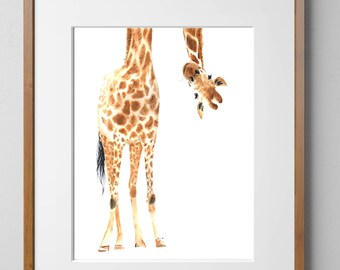 Giraffe PRINTABLE Watercolor-Giraffe Nursery Print, Safari Art, Giraffe Print, Wall Art, Home Decor, Animal Art, Giraffe, Nursery Art