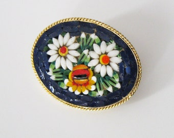 Vintage Mosaic Flower Brooch, Daisies, Blue Background