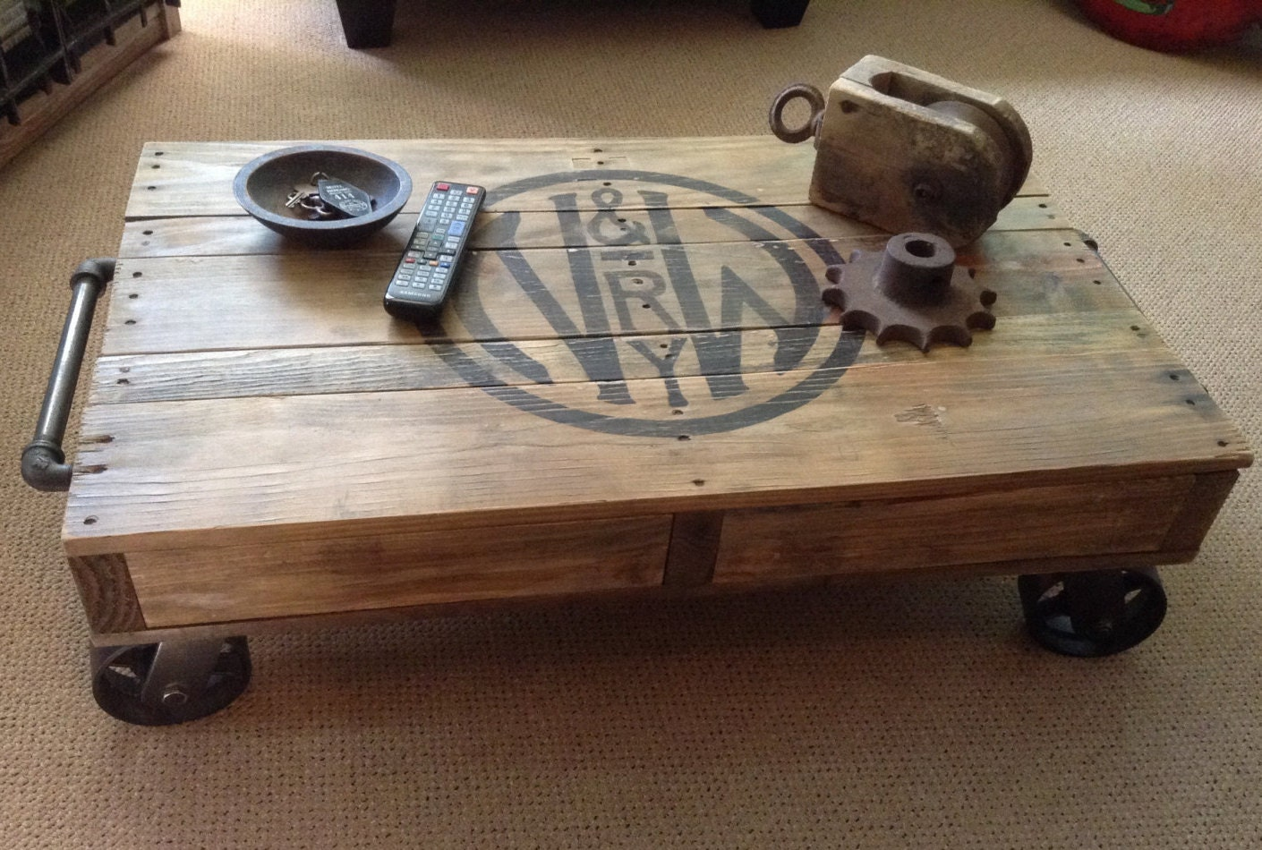 Industrial Railroad Coffee Table Cart. Gallery Photo Gallery Photo Gallery  Photo Gallery Photo Gallery Photo