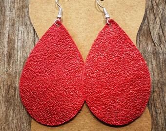 Red Leather Earrings (Teardrop)
