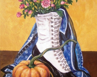 Old Fashioned Fall 11x14 acrylic painting still life