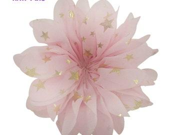 "3.5"" Pink gold stars flower - Fabric flower - Pink flowers"
