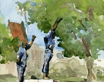 Olympic Black Power Statue, SJSU San Jose State University ,alumni graduation gift, fine art print of a watercolor sketch
