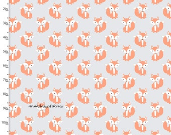 Fox Fabric, Fox Quilt Fabric, 3 Wishes Little Forest 12950 Gray, Woodland Animal Fabric, Baby & Toddler Fabric, Cotton Yardage