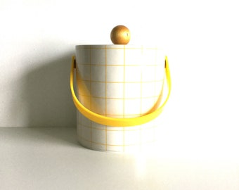 Vintage 80s yellow and white checked ice bucket by Cora