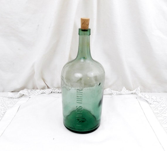 Dior Large Antique French Green Glass Demijohn / Carboy / Bottle from Dior Factory, Shabby Chateau Country Chic Decor Perfume From France