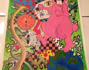 Time is an Illusion Psychedelic Mixed Media Drawing