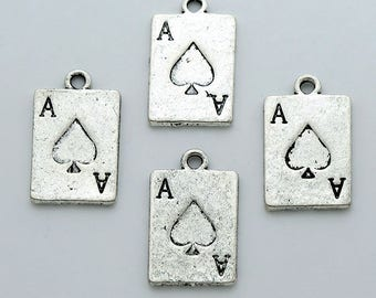 Pik-Charms-10 Stück-Ass. Antik Silber Poker Karte 2-seitig 21x13mm