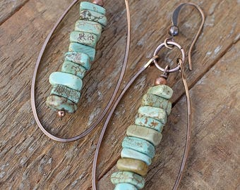 Turquoise earrings, turquoise jewelry, copper jewelry, boho dangle earrings, southwestern jewelry, bohemian earrings, bohemian jewelry