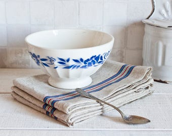 Large Vintage French Bowl Blue and White Floral Decor || French Breakfast Bowl - Shabby Chic & Country Style