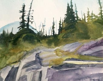 Alpine Lakes wilderness, Pacific Northwest, cascade mountains, pine trees, mountain landscape, northwest art, mountain watercolor, trees