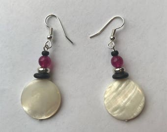 Round Mother-of-Pearl Earrings with Pink Jade and Silver Beads.