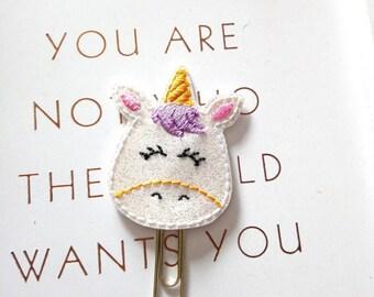 Unicorn planner clip, cute planner clip, glitter planner clip, fantasy planner clip,  planner clip, planner accessories B1
