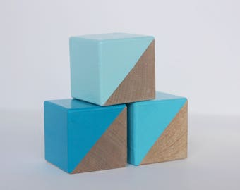 3 Blue Painted Wooden Blocks