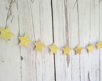 Gold Star Garland/Star decor/Twinkle Twinkle Litter Star Garland/Gold Glitter star Garland,Twinkle Litter Star Decoration,Nursery Decor
