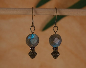 Earrings Labradorite Earrings Blue Labradorite Earrings Rustic Renaissance Earrings Short Dangle Blue Earrings