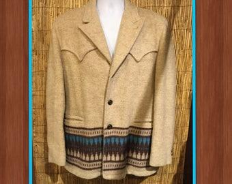 Vintage 1950s Indian woven pattern jacket by Field & Stream Size 42