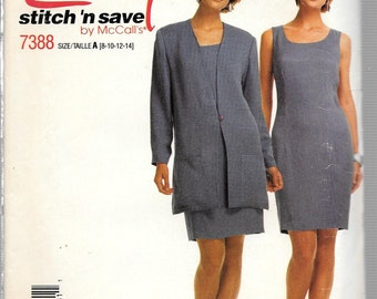 Vintage 1994 McCall's Stitch 'n Save Pattern 7388 DRESS & LONGER JACKET Misses Sizes 8 10 12 14