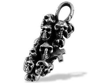 Mens .925 Sterling Silver Skulls Cross Bone Pendant