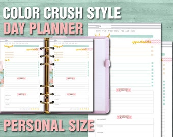 Printable daily planner personal size color crush style filofax personal kikki k day planner