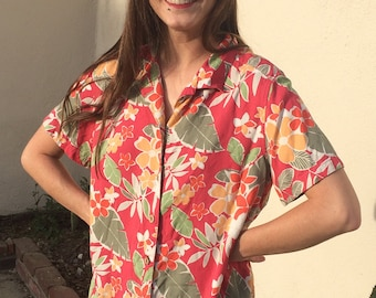 Vintage 90s Karen Scott Sport Orange Hawaiian