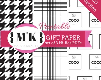Printable Gift Wrapping Paper /Scrapbooking – COCO Collection Chanel Inspired Textiles – Set of 3 Hi-Res PDF files – Digital Download