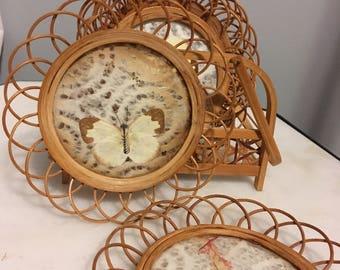 Vintage pressed butterfly coaster set