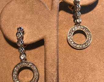 Dangle Circle Diamond Earrings 14 Kt Two Tone Gold