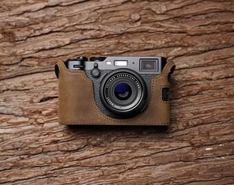 MS Edition Fujifilm fuji X100F Handmade Half Case Cowhide leather Camera bag Protector Holster sleeve Tripod mount SD & battery access
