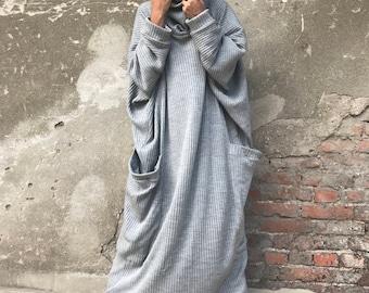 Maxi Dress, Plus Size Clothing, Long Sleeved Dress, Minimalist Dress, Women Dress, Cotton Dress, Kaftan Dress, High Collar Dress