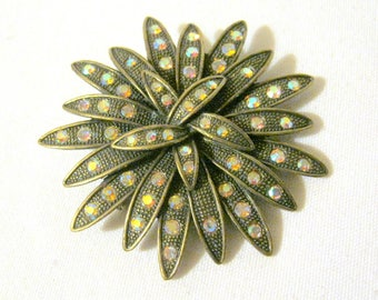 "Vintage Unmkd Faceted AURORA BOREALIS and Marcasite 2 1/2"" Starburst Pin BROOCH"
