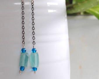 Silver Dangles / Silver Earrings / Blue Earrings / Long Earrings / Sterling Earrings / Blue Glass / Oxidized Chain / Chain Dangles / Silver