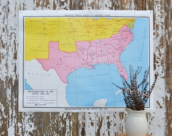 Vintage School Map - Large United States Nystrom America Poster US Pulldown Canvas
