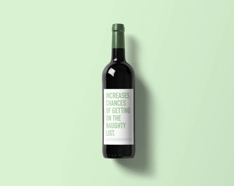 Naughty List Wine Labels - 6 Pack | Funny Wine Label | Wine Label | Wine Bottle