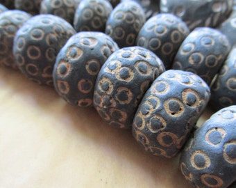Black and Brown Rondel African Bead, African Beads, African Black Clay, Black Clay Bead, Black Clay, Black Bead, Mali Beads