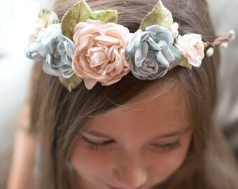 Antique Pink and Aqua Woodland Romantic Flower Crown, Natural, Romantic Head Piece, Bridal Wreath Crown, Boho, Mori Girl