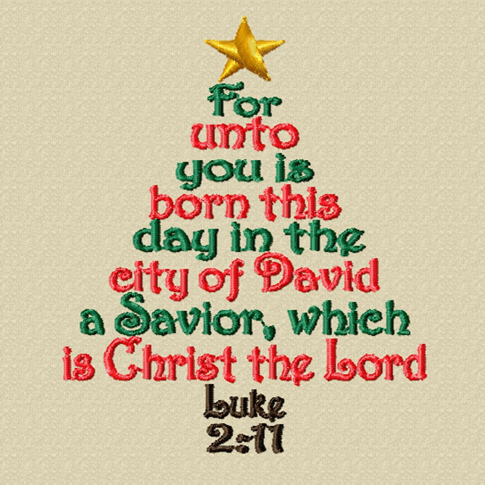 Christmas Tree In The Bible Scripture: Luke Scripture Tree A Machine Embroidery Design For Christmas