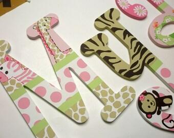 Jungle Jill Letters - wooden wall letters - custom - hand painted - nursery decor