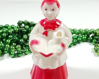 Vintage Hard Plastic Choir Boy Ornament. Red and White Ornament, Made in 1950's. Vintage Christmas Decorations.
